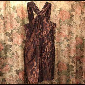 Leopard Print taffeta party dress